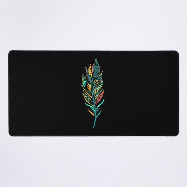 Distinctive colorful feather Desk Mat