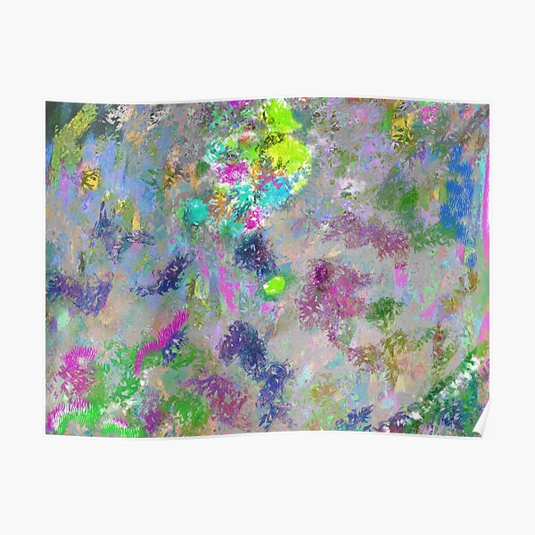 Rainbow Splatter Colorful Watercolor Abstract Painting Poster