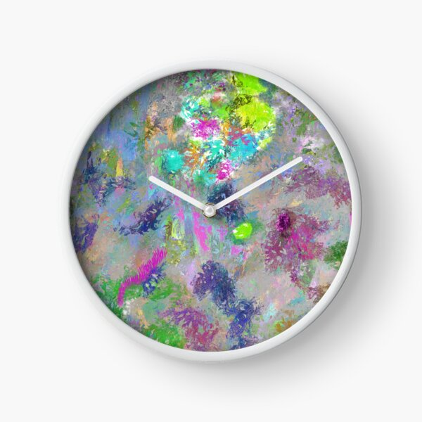 Rainbow Splatter Colorful Watercolor Abstract Painting Clock