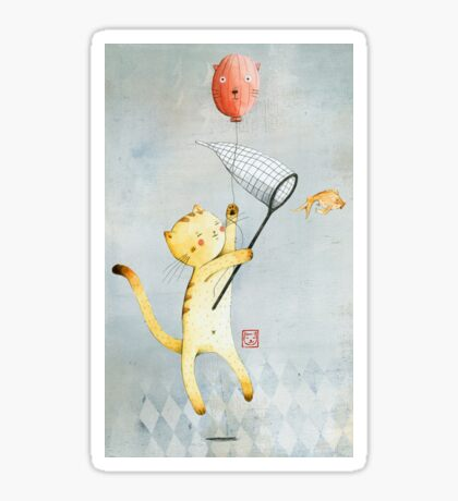 Cat With Balloon Sticker