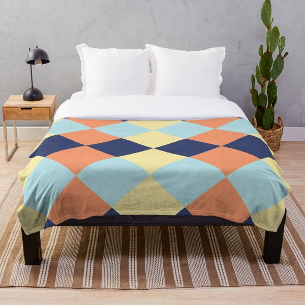 Colorful Seamless Geometric Triangles Pattern. Throw Blanket