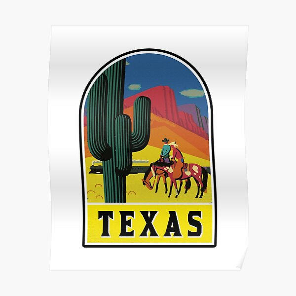 TEXAS VINTAGE TRAVEL WILD WEST COWBOY SAGUARO CACTUS TRAIN MOUNTAINS EL PASO Poster