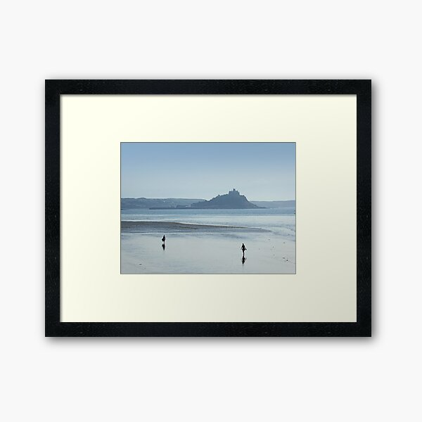 Walking from Penzance to St Michael's Mount Framed Art Print