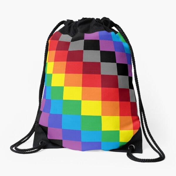Colored Squares Drawstring Bag