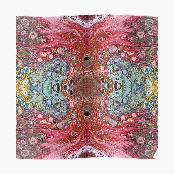 Rainbow Acrylic Fluid Pour Poster