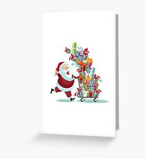 Cartoon Santa Claus pushing a Christmas shopping cart overflowing with tumbling gifts Greeting Card