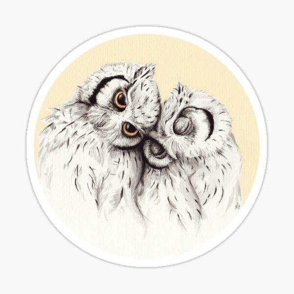 Little Owls cuddling Sticker