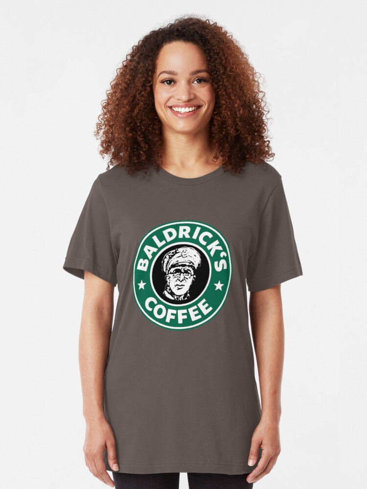 Alternate view of Baldrick's Coffee - Large Logo Slim Fit T-Shirt