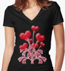 Valentines Love Blossoms Heart Flowers Women's Fitted V-Neck T-Shirt