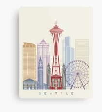 Seattle skyline poster Metal Print