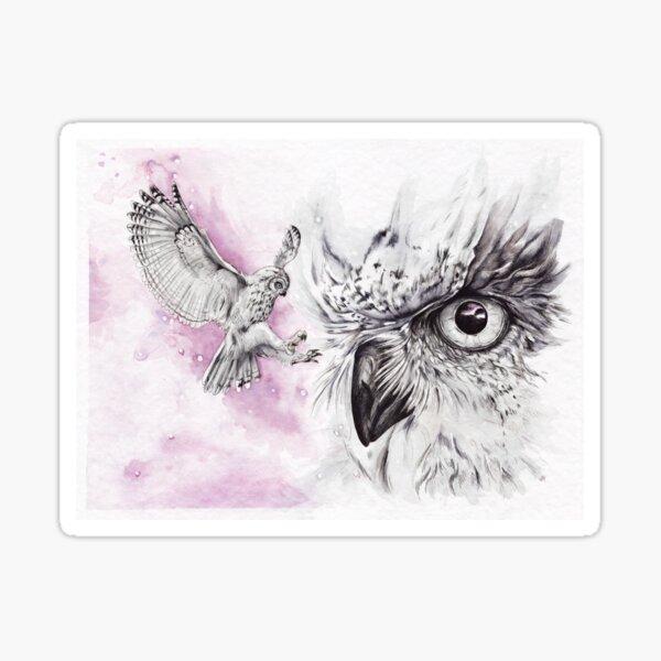 Owls in lilac sky Sticker
