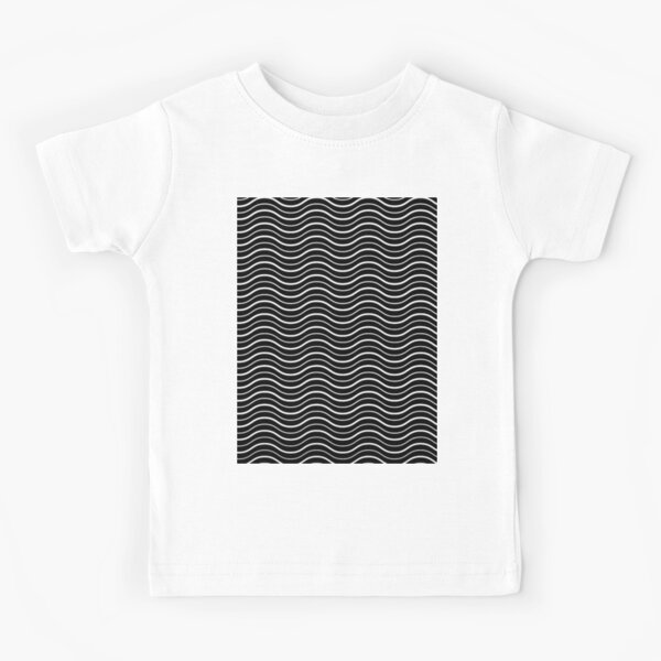 Optical illusion waves on black pattern  Kids T-Shirt