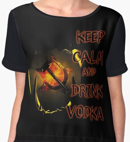 keep calm and drink vodka Women's Chiffon Top