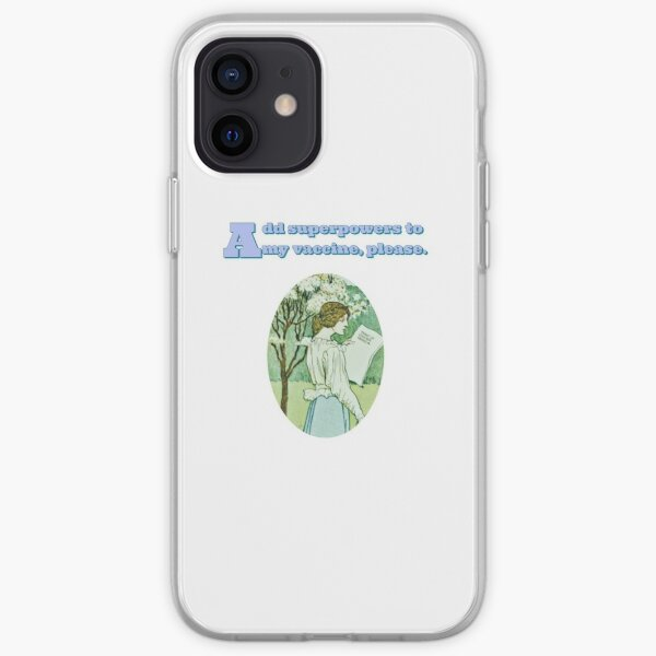 Add superpowers to my vaccine, please- With a leaf from an old book iPhone Soft Case