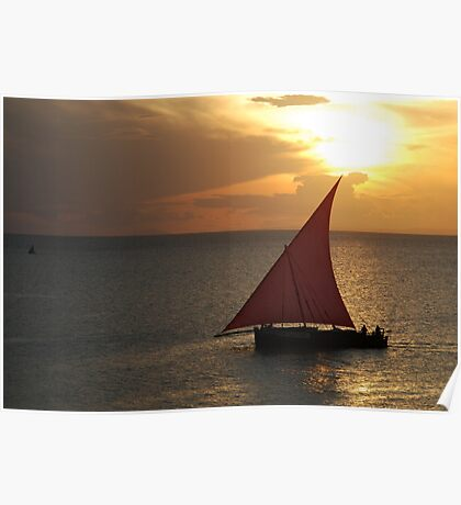 Red Sails in the Zanzibar Sunset, Tanzania Poster