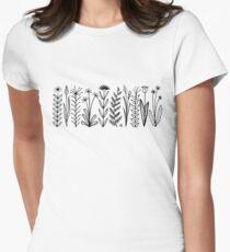 Einfaches Blumenmuster schwarz/weiß Tailliertes T-Shirt für Frauen