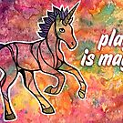 Play is Magic.  Magical Unicorn Watercolor Illustration by mellierosetest