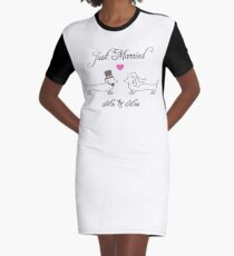 Congratulations / Just Married (Dachshund, Sausage Dog) Graphic T-Shirt Dress