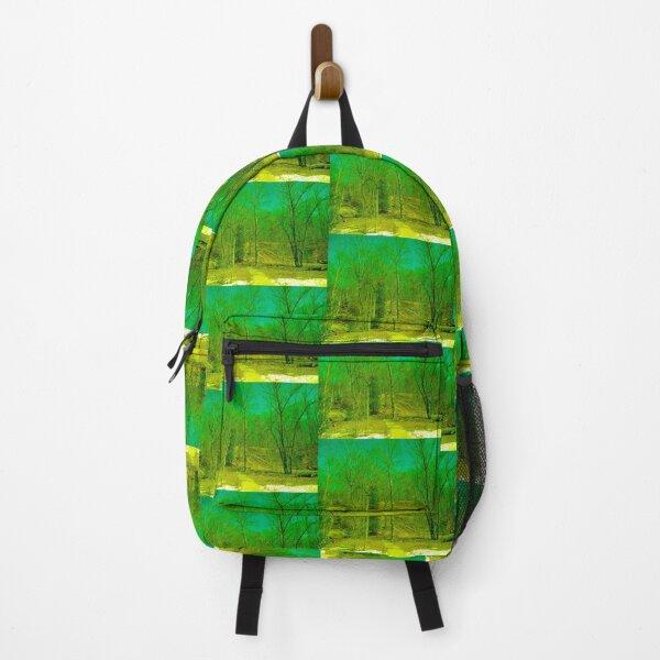 Green Trees Teal Sky Backpack