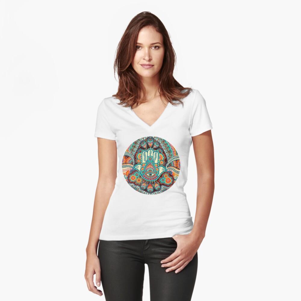 Hamsa Hand Fitted V-Neck T-Shirt