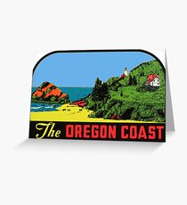 The Oregon Coast Vintage Travel Decal Greeting Card