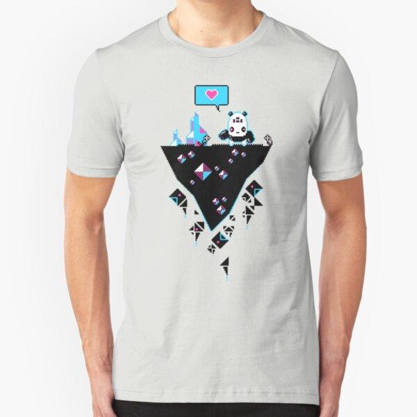 PandaC on Floating Pixel Island Slim Fit T-Shirt