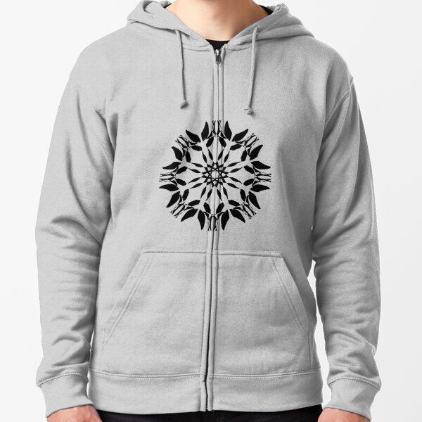 Symmetrical Geometric Design Pattern Zipped Hoodie