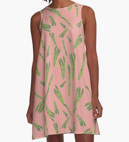 Asparagus on pink A-Line Dress