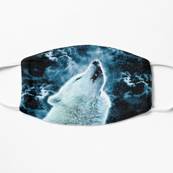 A howling wolf in the rain Flat Mask