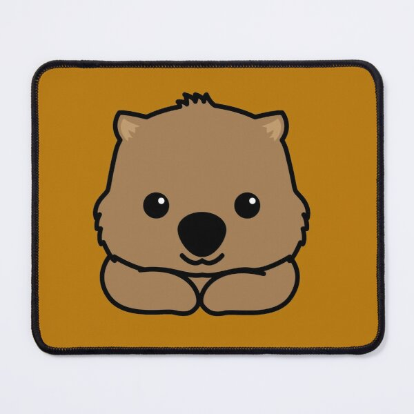 Cute baby wombat smiling drawing Mouse Pad