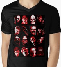 Horror Movie Icons Vector Art Men's V-Neck T-Shirt