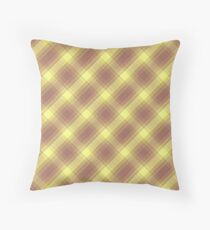 Yellow and Lavender Plaid Throw Pillow