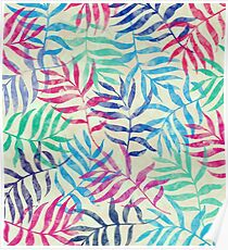 Watercolor Tropical Palm Leaves  Poster