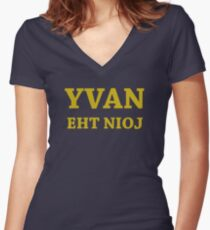YVAN EHT NIOJ Women's Fitted V-Neck T-Shirt