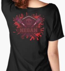"""Walking Dead Negan Blood Splatter  """"I'm gonna beat the Holy H*** Outa One Of You"""" Women's Relaxed Fit T-Shirt"""