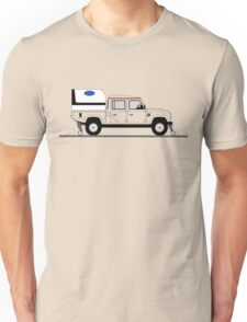 A Graphical Interpretation of the Defender 130 Double Cab High Capacity Pick Up Road Rail Vehicle Unisex T-Shirt
