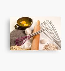 baking concept with ingredients, tools and baked goods  Metal Print