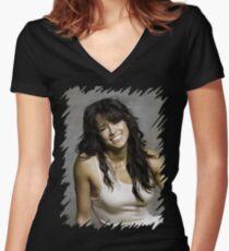 Zeman Michelle Rodriguez - Celebrity (Oil Paint Art) Women's Fitted V-Neck T-Shirt