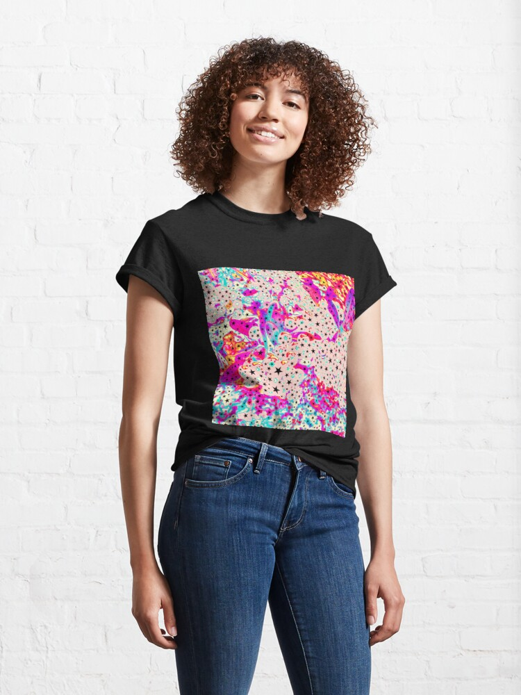 Alternate view of Starry and Sweet - Galactic Stars Neon Art Classic T-Shirt