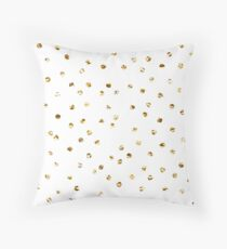 Gold foil polka dot pattern. Throw Pillow