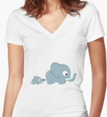 Cute Elephants Women's Fitted V-Neck T-Shirt