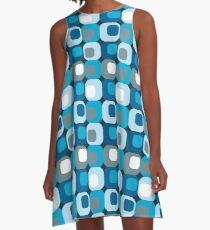 Retro Mod Blue Abstract  A-Line Dress