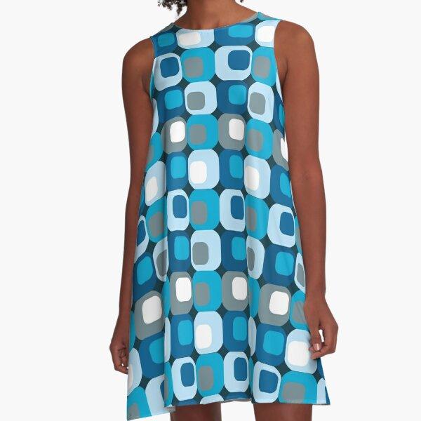 Retro Mod blau abstrakt A-Linien Kleid