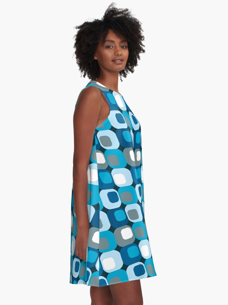 Alternate view of Retro Mod Blue Abstract  A-Line Dress