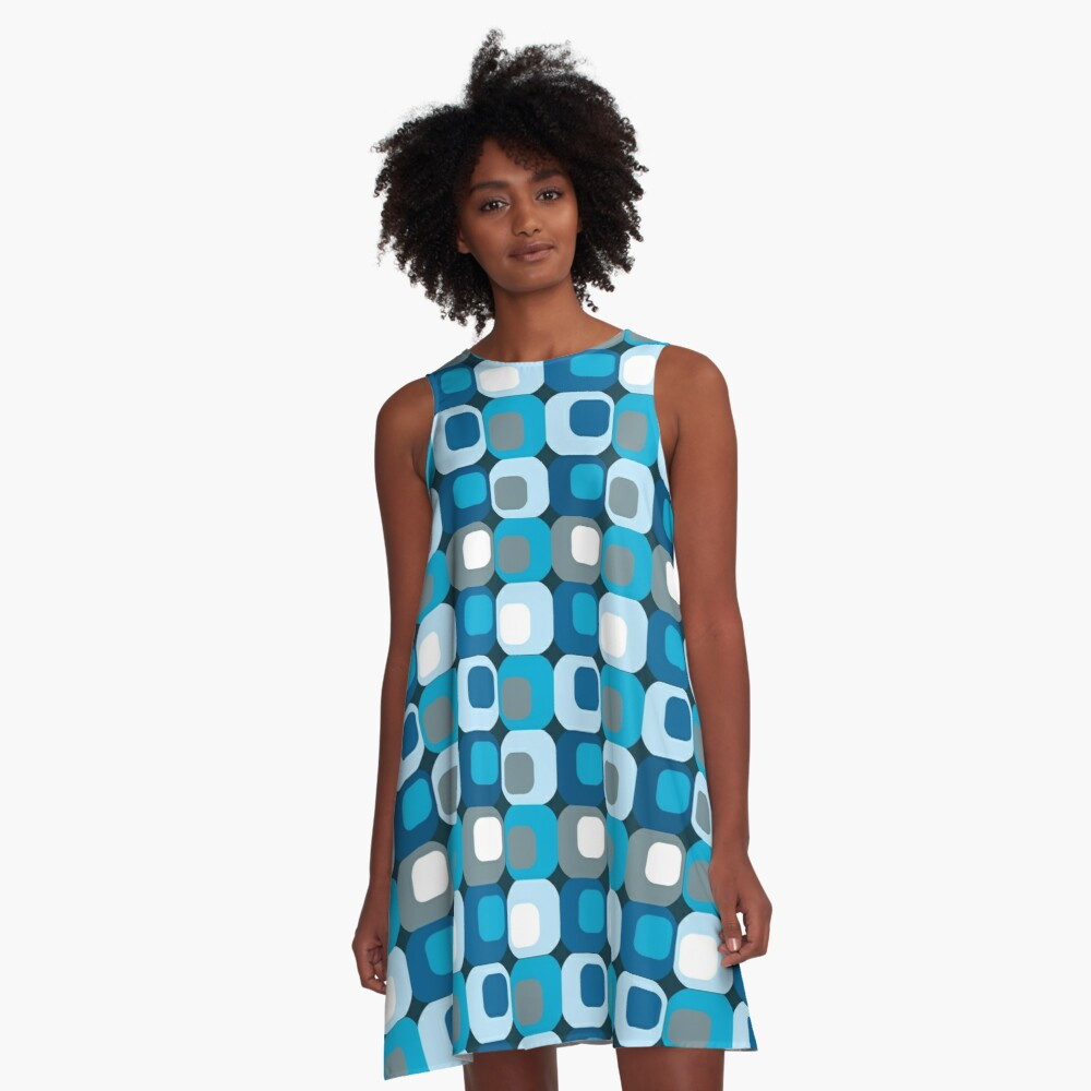 Retro Mod Blue Abstract  A-Line Dress