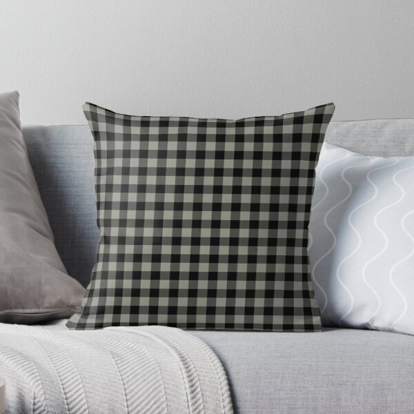 Gray Green and Black Buffalo Plaid Pattern Coordinates w/ Sherwin Williams 2022 Popular Color Evergreen Fog SW 9130 Throw Pillow