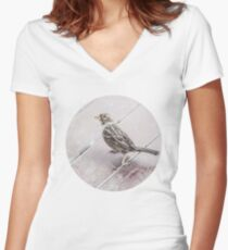 The Curious Sparrow Women's Fitted V-Neck T-Shirt
