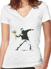 Banksy- Flower Thrower Women's Fitted V-Neck T-Shirt