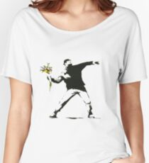 Banksy- Flower Thrower Women's Relaxed Fit T-Shirt