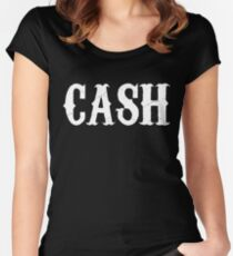 johnny cash man in black country rock pop icon folsom prison ring of fire rock lyrics cool t shirts Women's Fitted Scoop T-Shirt